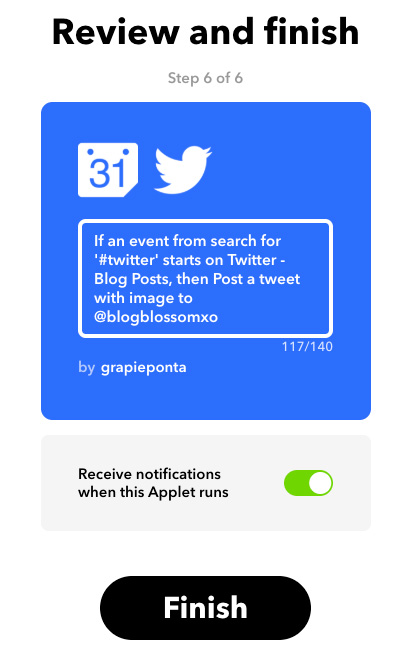 applet on IFTTT