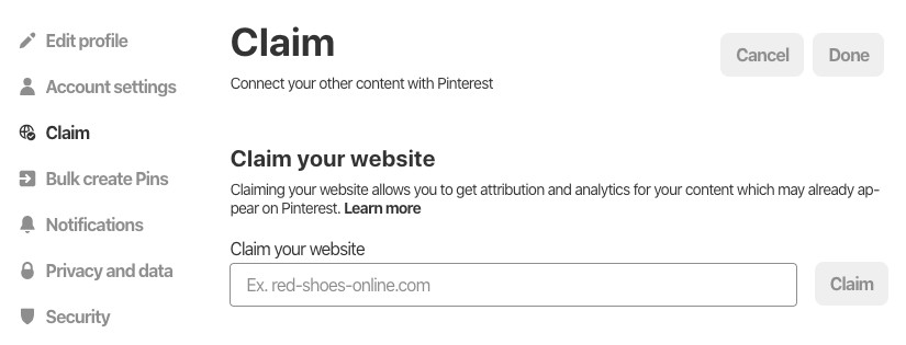 claim your site on pinterest