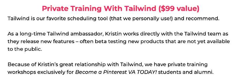 pinterest va bonuses - private training with tailwind