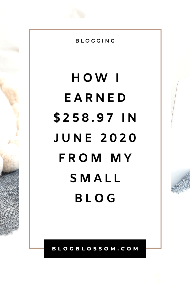 In my June 2020 income report, I'll show you how I earned $258.97 from my small blog. | blogging traffic | skyrocket your traffic | blog income report | blog traffic report | affiliate marketing | earn money online | make money online | money making tips | make money blogging | tailwind | pinterest tips | social media marketing | ad revenue | blogging tools | blogging tips | blog tips | start a blog | work from home | side hustles