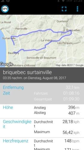 Routenübersicht auf dem Smartphone