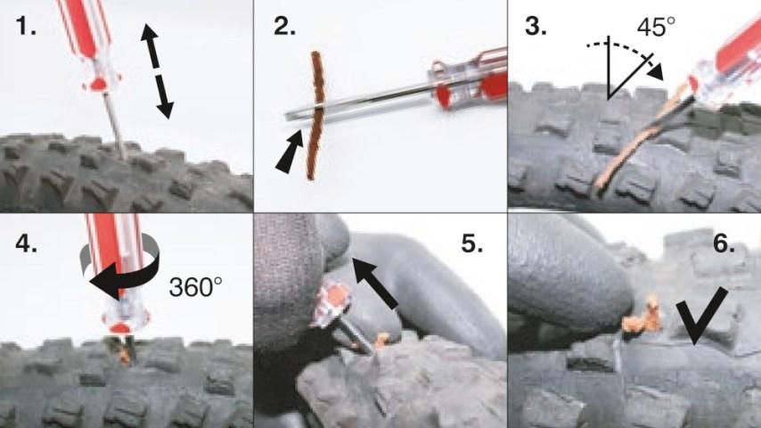 So läuft der Flickvorgang mit dem Reverse Tubeless Tire Repair Set ab