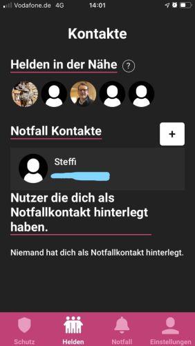 Die App zeigt die Notfallkontakte und Mitglieder im Umkreis