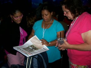 Connecticut delegates began the first session of business at the 88th NEA RA in San Diego on July 3 by reviewing the RA Today newspaper published daily for NEA delegates.
