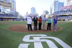 "Mullen (third from right) poses with NEA President Dennis Van Roekel (at left) and other education leaders on the pitching mound at PETCO Park. They posed before Van Roekel threw out the first pitch in front of a sold-out crowd for a game between, the San Diego Padres and the Los Angeles Dodgers on the evening of July 3. The park celebrated NEA's ""Night at the Ballpark"" event that was attended by more than 7,000 NEA delegates."
