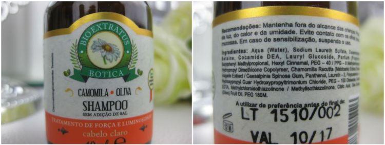Frente e verso (descrição dos ingredientes) da embalagem do shampoo
