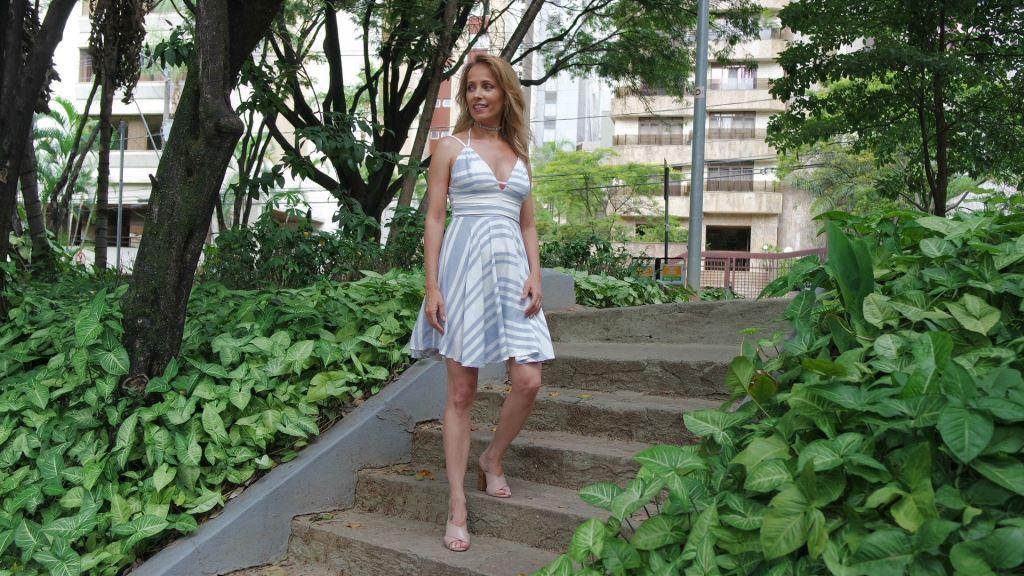 vestido listras e mule nude blog da ana