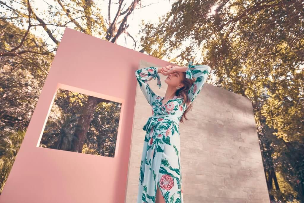 coleção patbo collection cea fundo azul vestido longo
