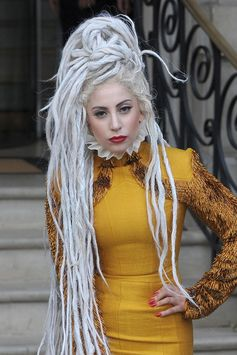 Lady Gaga leaving her hotel wearing a yellow dress and with her hair in huge dreadlocks Featuring: Lady Gaga Where: London, United Kingdom When: 09 Dec 2013 Credit: Will Alexander/WENN.com