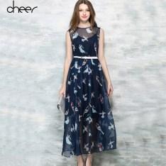 Women-Summer-Bohemian-Chiffon-Long-Bird-Pattern-Print-Navy-Blue-Sleeveless-2-Piece-Midi-Dress-With