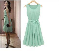 Womens-Fashion-Chiffon-Pleated-Mint-Green-Sleeveless-Dress-US-Size-6-8-10