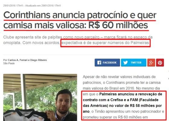 2eb191ab08b Estavam loucos para conseguirem um patrocínio de valor maior do que o do  Palmeiras