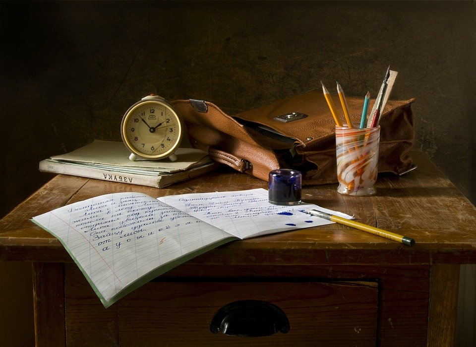 Still Life, School, Retro, Ink, Table, Desk, Study