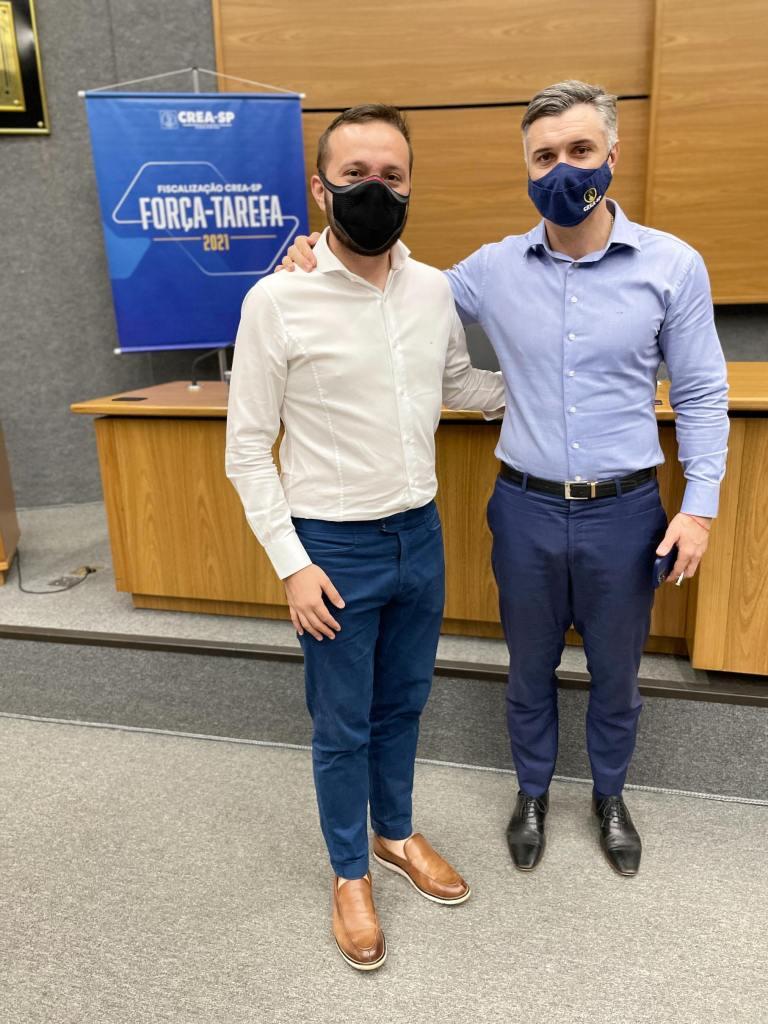 Eduardo Cavalcanti e Vinicius Marchese (Presidente do CREA-SP) em Abertura de Força-Tarefa do CREA-SP