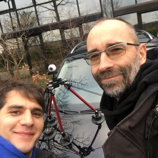 Left: Cagatay Oezbay Right: Michael Radeck<br>Rear: The new car with our Car Rig and a Samsung Gear 360