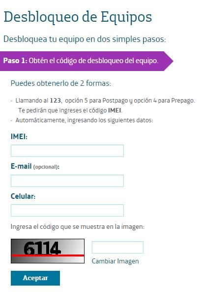 desbloqueo de equipos movistar - formulario