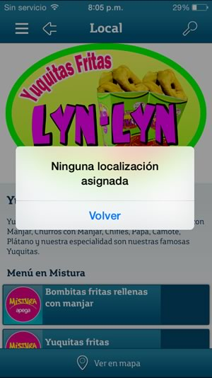 app movistar mistura - sin ubicacion
