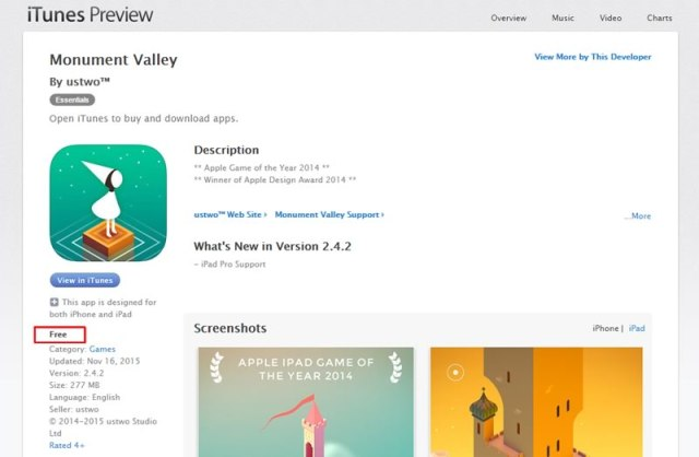 descarga gratis monument valley para ios
