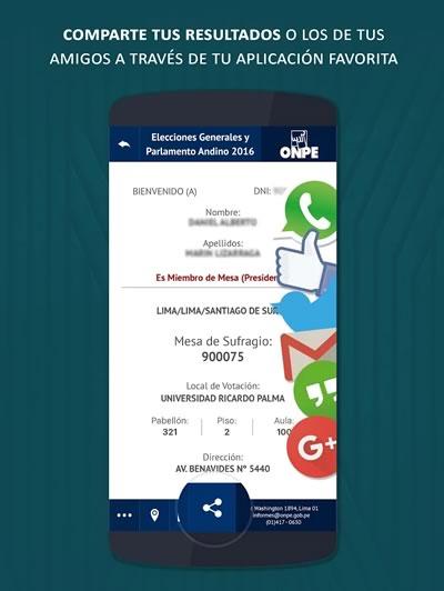 app onpe comparte el resultado