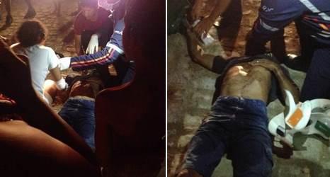 Momento em que a vítima era socorrida pelo Samu(fotos: whatsapp)