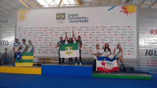 Kyce e Milena - ouro - vôlei de praia - Jogos Escolares da Juventude