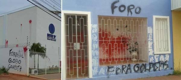 Prédio da Inter TV Costa Branca e sede do PP são pichados