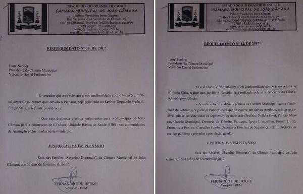 Requerimentos apresentados pelo vereador Fernando Guilherme