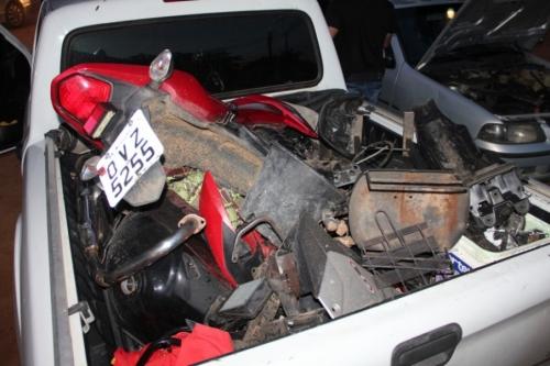 Peças de motos encontradas pela polícia