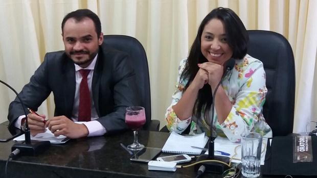 Vereadora Aize Bezerra e o vereador Flávio Sami