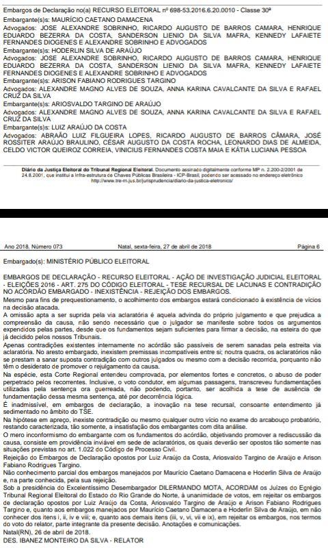 Resultado de imagem para João Câmara: Publicado Acórdão de rejeição dos embargos pelo TRE/RN