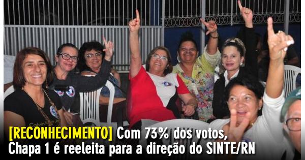 Resultado de imagem para Com 73% dos votos, chapa 1 é reeleita para novo mandato na direção do Sinte/RN