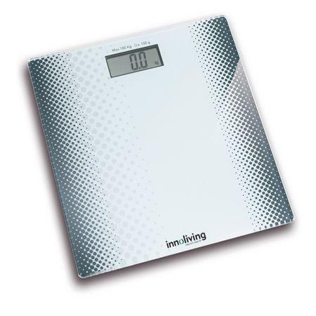 , 180 kg, Design Slim, Platforma de sticla, Alb