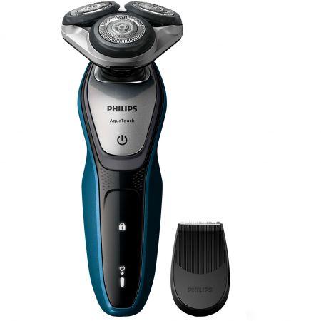 Aparat de ras Philips S5420/06, Lame Multiprecision, Wet&Dry, LED, Acumulator, 3 capete, Rotire in 5 directii, Mod Turbo, Trimmer, Negru