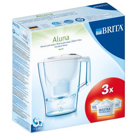Pachet Starter Brita Aluna BR1013753: Cana de filtrare apa Aluna Cool Frosted, 2.4 l, Alb + 3 Filtre Maxtra