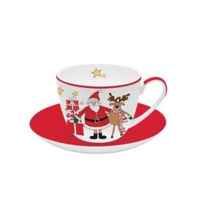 """Ceasca portelan 280 ml cu farfurioara """"Santa and Friends"""" - Nuova R2S"""