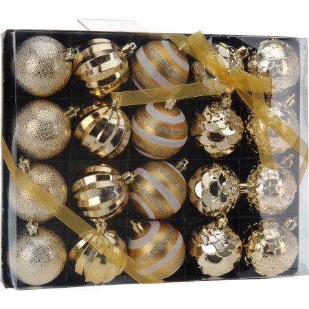 Set 20 de globuri eNoelle, Auriu, 6 cm