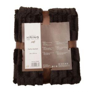 Patura Kring Soft, Maro, imitatie de blana,200 x 200 cm