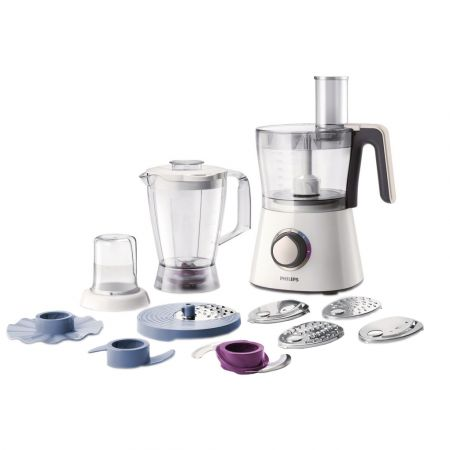 Robot de bucatarie Philips Viva Collection HR7761/00, 750 W, bol 1.5 l, blender 1 l, 2 viteze + Pulse, Alb