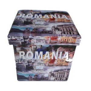 Taburet Homa cu spatiu de depozitare, 38x38x38 cm, piele ecologica, model Romania 2
