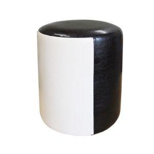 Taburet Tub Piele Bej-Wenge, 33 x 41 cm