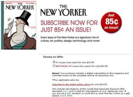 Como The Economist, The New Yorker sigue las recomendaciones de economistas conductuales al estilo de Dan Ariely