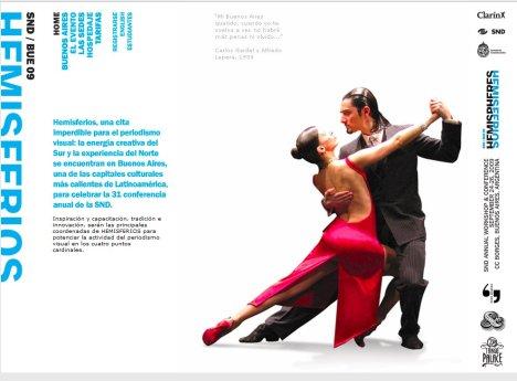 Un afiche de Hemisferios, como se llamó al congreso de la SND en Buenos Aires.