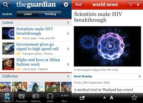 """A poco más de un dos libras, The Guardian vendió 70 mil """"licencias"""" de su aplicación para Iphone en sólo un mes."""
