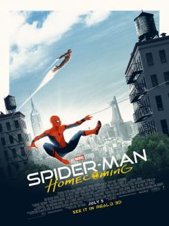 Póster artístico de Spider-Man: Homecoming (2017) visto en algunos cines Odeon de Reino Unido