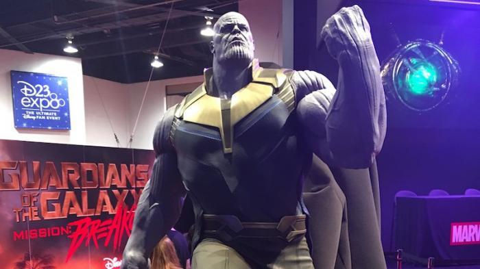 Figura de Thanos en Avengers: Infinity War (2018) vista en la D23 Expo