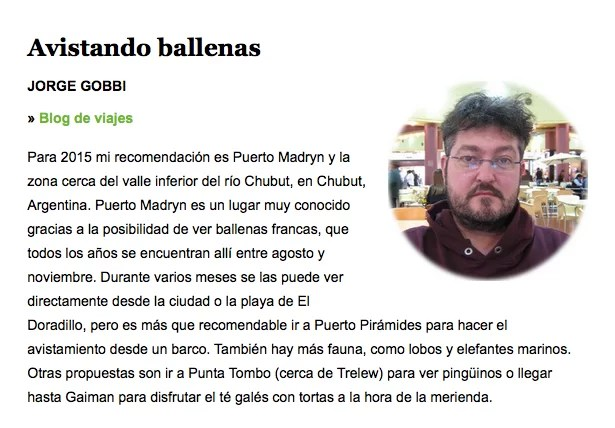 Blog de Viajes - recomendación en el diario El País