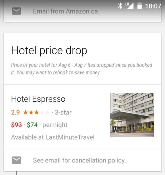Google Now y los hoteles