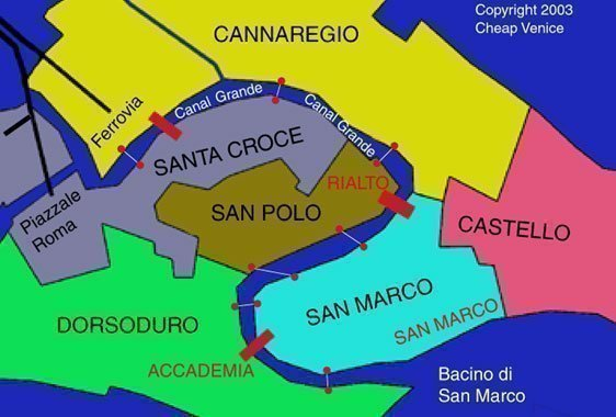 Mapa de los puntos de cruce de los traghettos