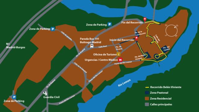 Mapa del recorrido para ver el Belén Viviente Buitrago en Navidad