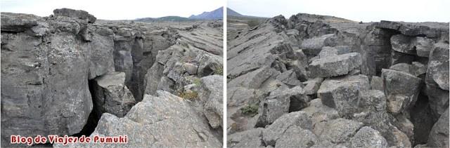 La fractura del terreno da accesos a la fuente termal de Stóragjá en Mývatn, Islandia